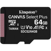 Карта памяти Kingston Canvas Select Plus microSDXC 64Gb UHS-I + ADP (100/10 Mb/s)
